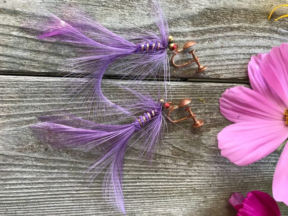 Unique Rare Purple Feather Fly fishing Lure Earrings Vintage Copper Screw Backs by Vee Bee Fly Long Beach CA