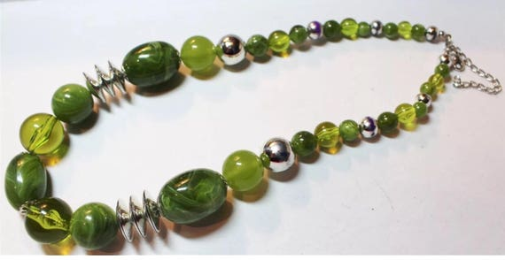 Fun Futuristic Looking Greens with Silver Lucite Statement Beads