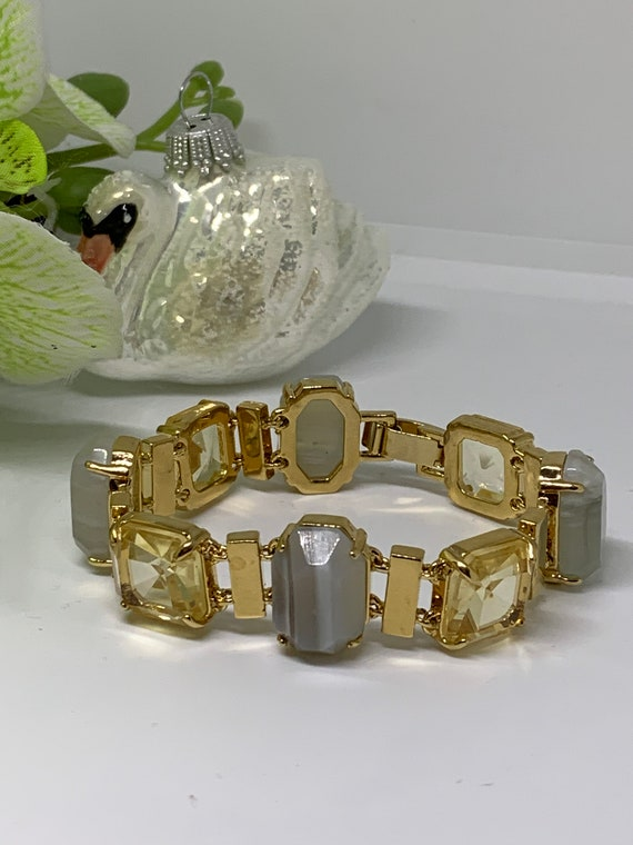 Shiny Designer Statement Bracelet with Faux Topaz & Smoky Emerald Cut Lucite Gems, Signed 90s Costume Jewelry