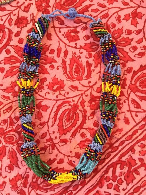 Boho Gypsy Vintage Southwestern Native American Rainbow Seed Bead Torsade Necklace Choker