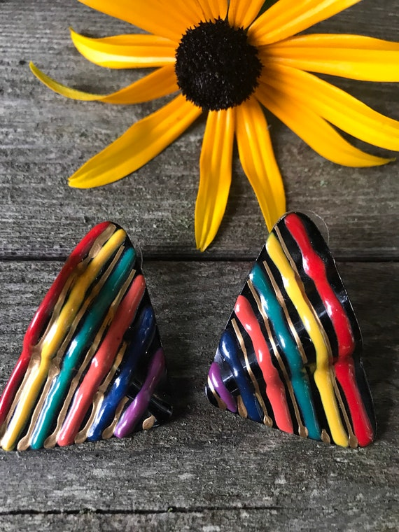 Awesome 80's Rainbow Ripple Waves Wings New Wave Modernist POP ART Puffed Enamel on Black Totally Rad Earrings
