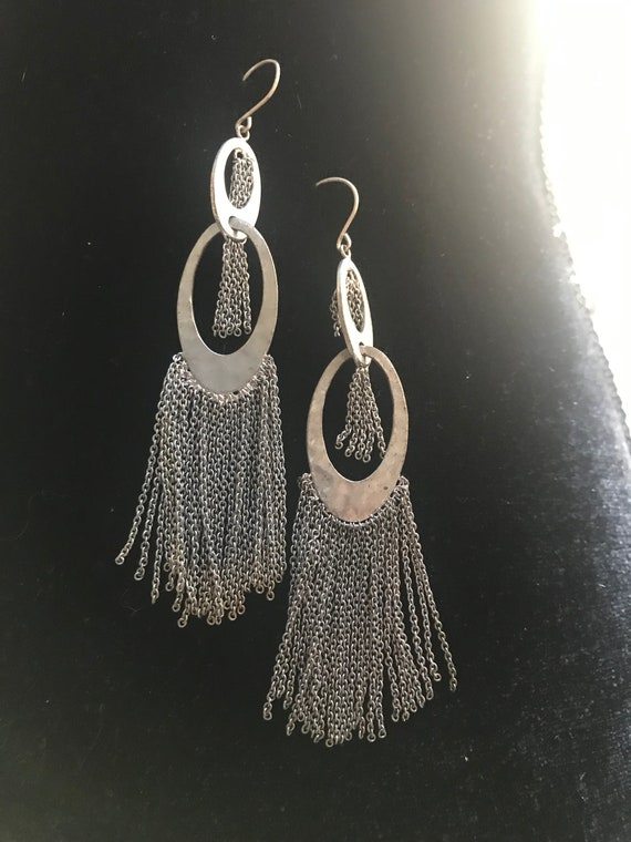 Vintage Chain Tasseled Giant Hoop Statement Earrings, Silver Hoops With tassels , 90s Costume Jewelry, sustainable fashion jewelry
