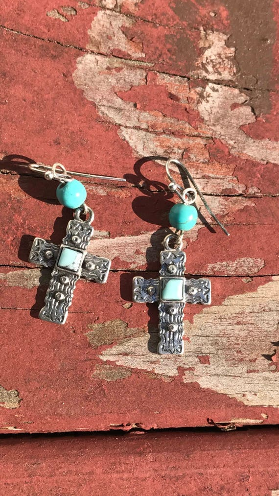 Southwestern Style Silver Tone with Blue Green  beaded Embossed Cross Dangle Earrings