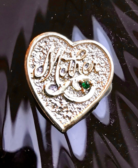 Vintage 60s Gerrys Golden Heart For Mother with green Rhinestone Pin Brooch Sentimental Any Day Gift for Mom, Cool Super PUNK ROCK too!