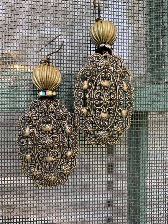 Boho Gypsy Glamour Grunge 90s Vintage Beaded Gothic Bronze Tone Filigree Oversized Oval Dangle Statement Earrings