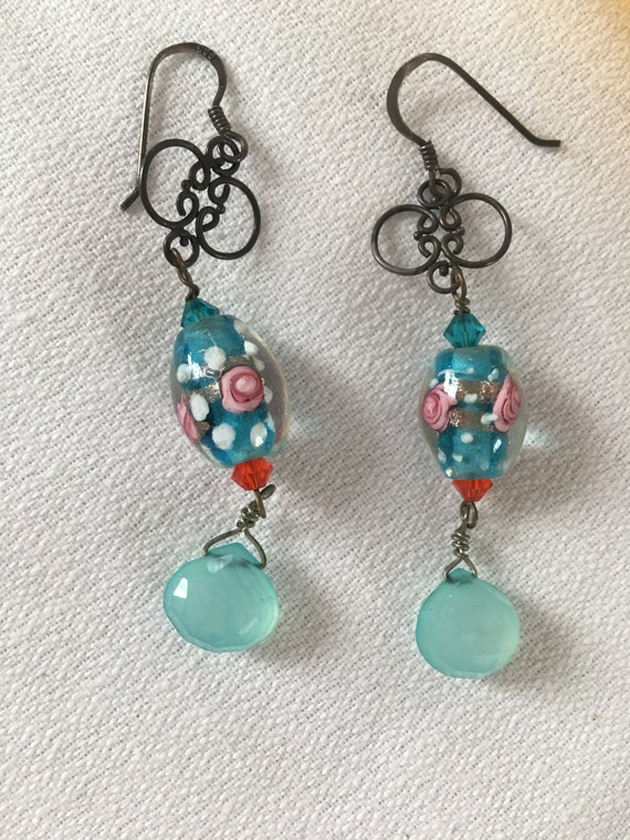 Aqua Art Glass Beaded Silver Filigree Earrings, Boho Gypsy Vintage Artisan 925 Sterling Dangles, Something Blue