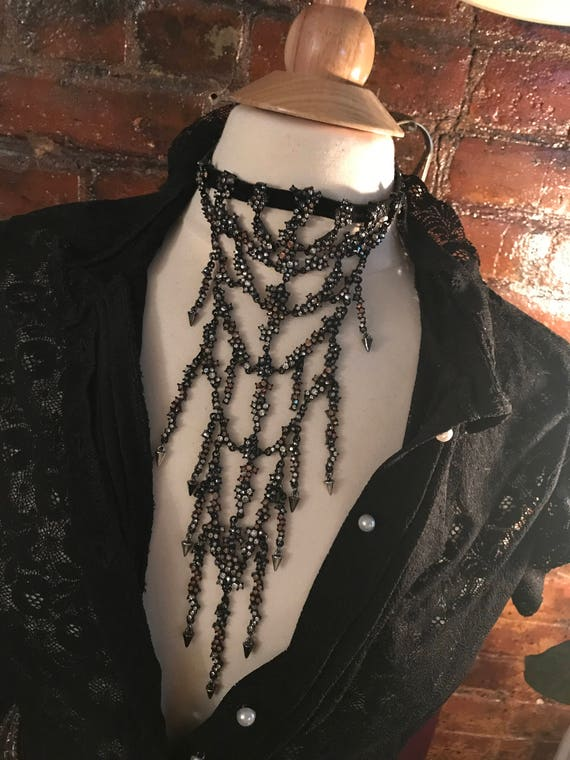 A Sexy Edgy OVER THE TOP 90's  Runway Glamour Grunge Gunmetal  & Topaz Crystal Dripping Grommet Choker Necklace