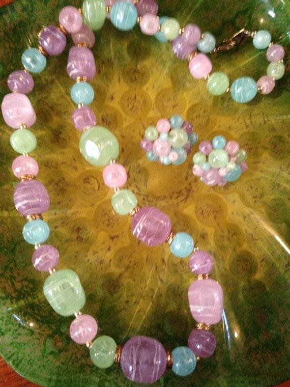Vintage Pastel Vintage Cluster Beaded post earrings & beaded necklace set
