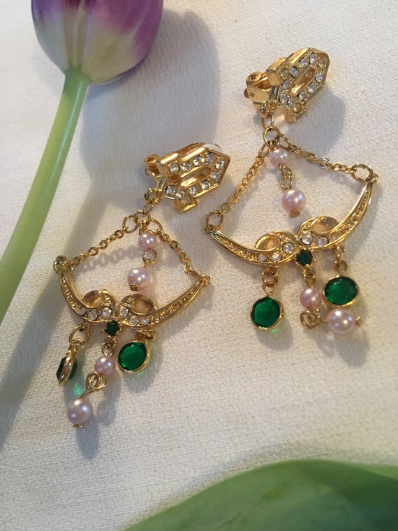 Green Crystal and Pearl Swing Dangles, Golden Art Deco Chandelier Statement Earrings, and these are Clip ons!