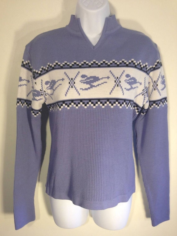 Vintage Nils Purple Lavender Skiier Racer Snowflake  V-Neck Sweater Sz M