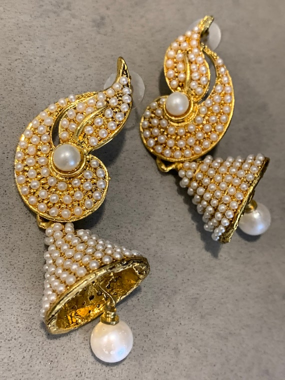 Traditional Bollywood Statement Earrings, Glamorous Indian Pearl Wedding Bell Dangles