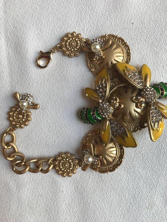 Trendy Enamel Bees on Matte Goldtone Medallions Runway Bling Earrings