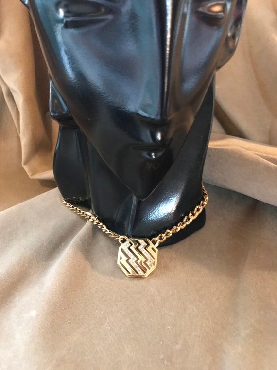 Goldtone Zig Zags & Rhinestones Chunky Chain Choker signed 1986 AVON, Sexy Disco New Wave, love the nightIife gotta boogie, hip hop bling