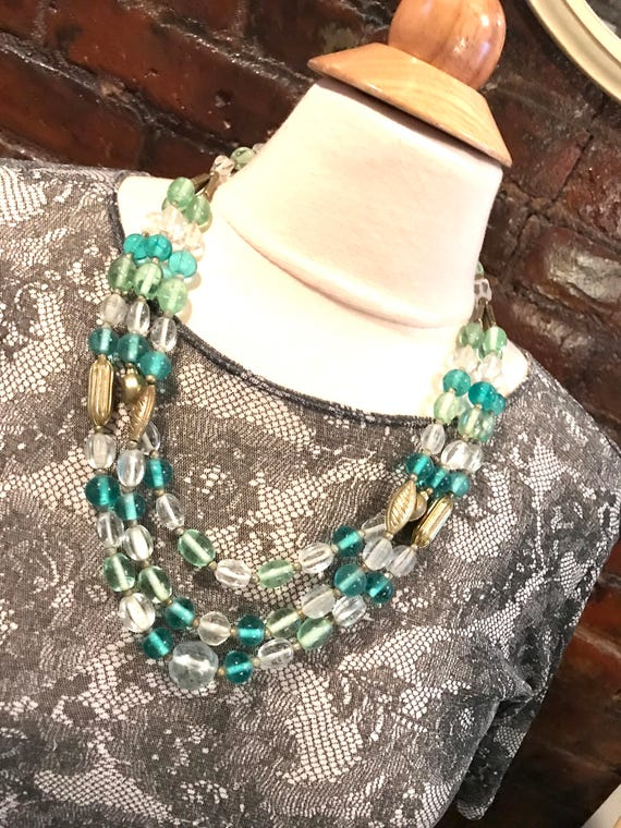 Art Deco Triple Strand Vintage Beaded Necklace in Sea foam Greens & starkling Clear Crystal with Golden Etched Deco Accent beads