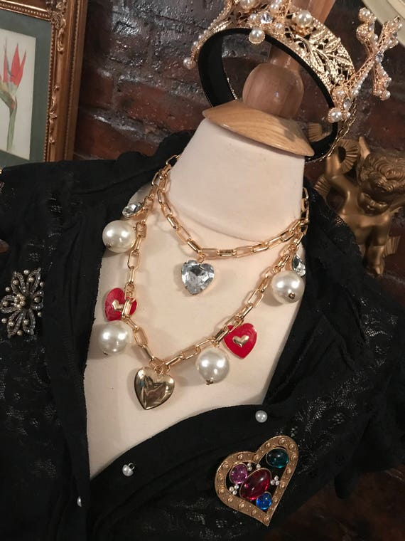 Fun Punky Hearts & Pearls  Costume Jewelry Charm Necklace