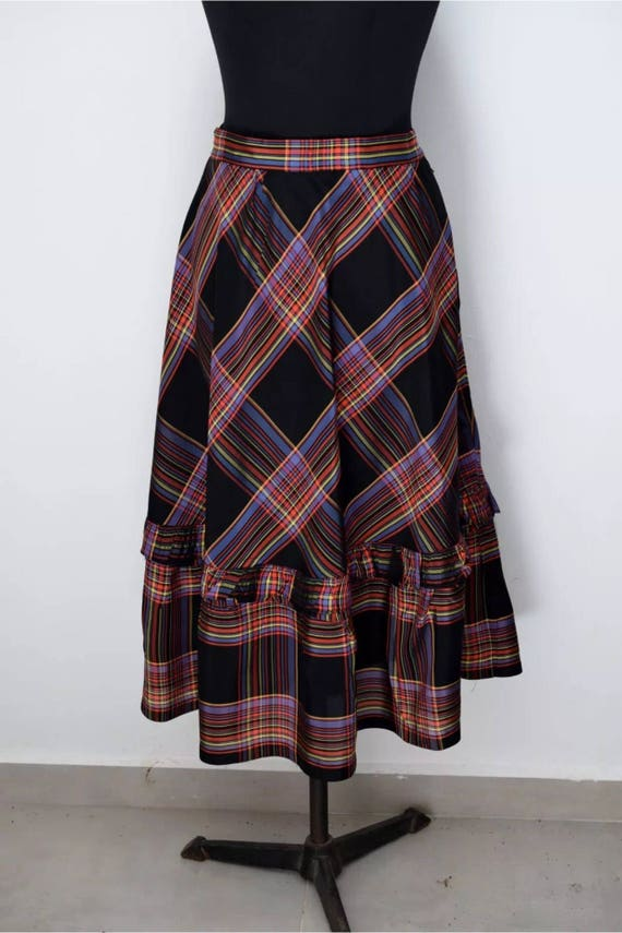Vintage Gottex Designer Light Weight Plaid Taffeta Black Purple & Red A-line Prairie Skirt imported from Isreal