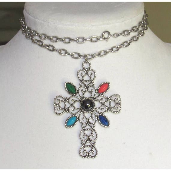 "Vintage Silver Plated Filigree Cross Pendant 24"" Necklace with Hemitite & Navette Stones by AVON"