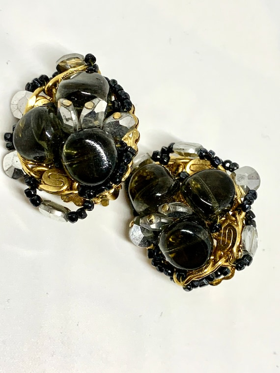 Abstract Mid Century Cluster Bead Statement Earrings, Smoky Black Art Glass & Modernist Gold Chain Clip ons