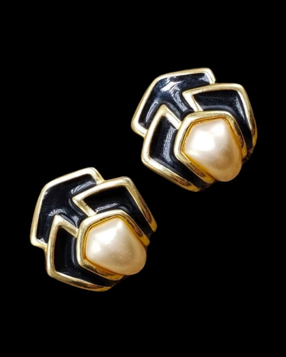 Napier Art Deco Statement Earrings, Black Enamel on Goldtone with Pearl Cabochon Centers, 80s Glam Signed Vintage Jewelry, Bold Classy Studs