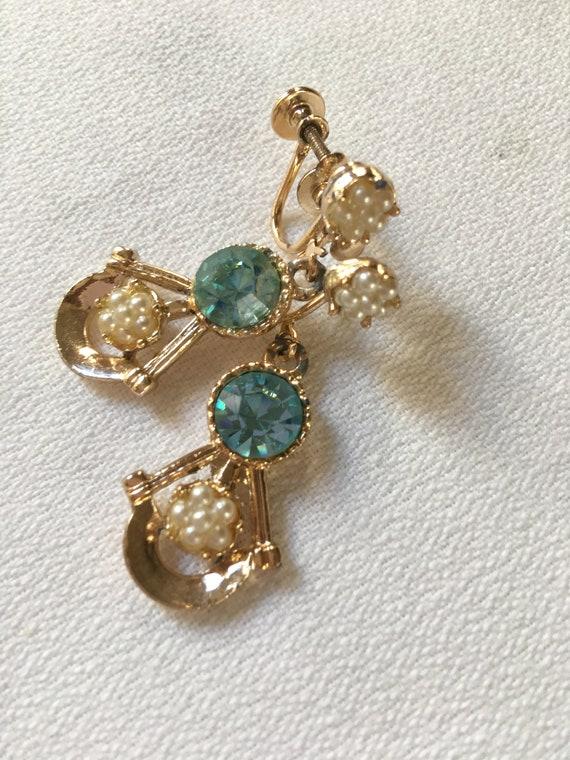 Baby Blue Aqua Gem Rhinestone & dainty seed pearl Screw Back Dangle Earrings, Perfect  for Prom or Sweet Sixteen, Pretty trending color too!