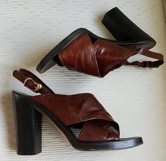 Disco Vinyl Record Era Charles Jourdan Chunky Heels, Italian Made Cordovan Leather Designer Shoes, Sexy Sandals, Hot Hot Hot, Heels size 6