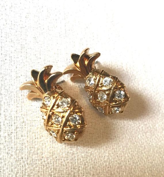 Vintage Avon Pineapple Earrings, Goldtone & Ice Rhinestone Studs, Resort Vacation Ready!