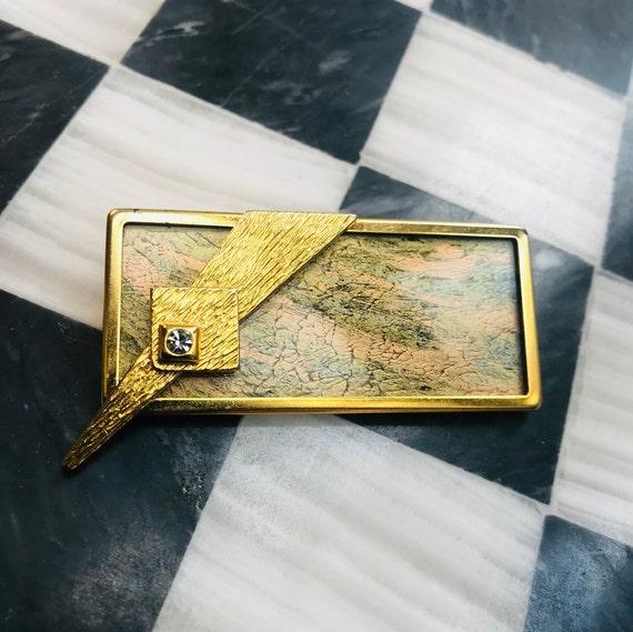 RARE Signed UHLIG Modernist German Expressionist Unisex Lapel Pin Frame
