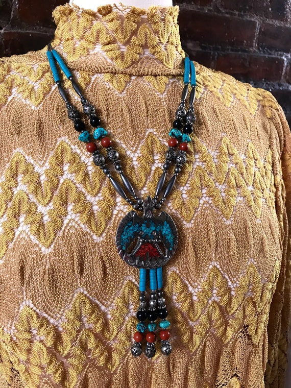 Signed TT Double Strand Silvertone Southwesten Beaded Thunderbird Pendant Tribal Boho Cowgirl Necklace