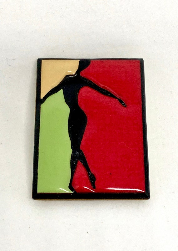 80s Modernist Dancer Silhouette Color Blocked New Wave Unisex Lapel Pin, Artisan Vintage Brooch by Lucinda of Maine