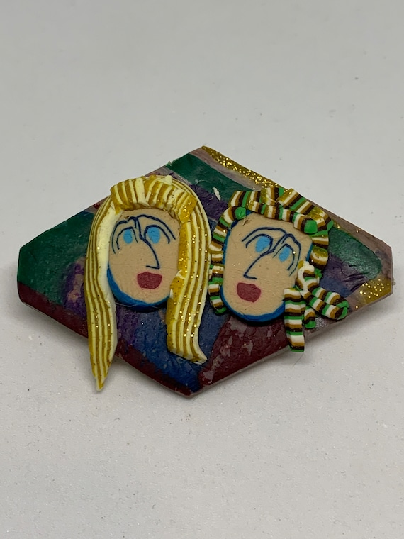 Kooky 80s Post Modern POP Artisan Graphic New Wave Funny Fashionista Lapel Pin Brooch
