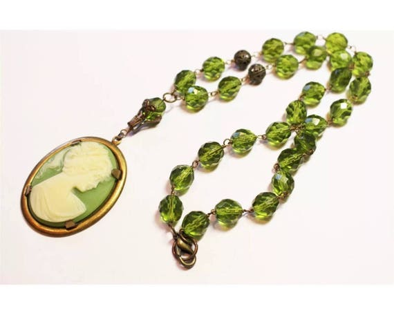 Quirky Victorian Revival Green Cameo Pendant on Green Crystal Beaded Necklace, Really Nice & Oddly Different