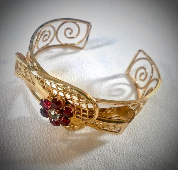 Harry Iskin Cuff Bracelet, Goldtone Art Deco Open Work with Red prong Set Gem Flower Center Signed Vintage Jewelry Bracelet