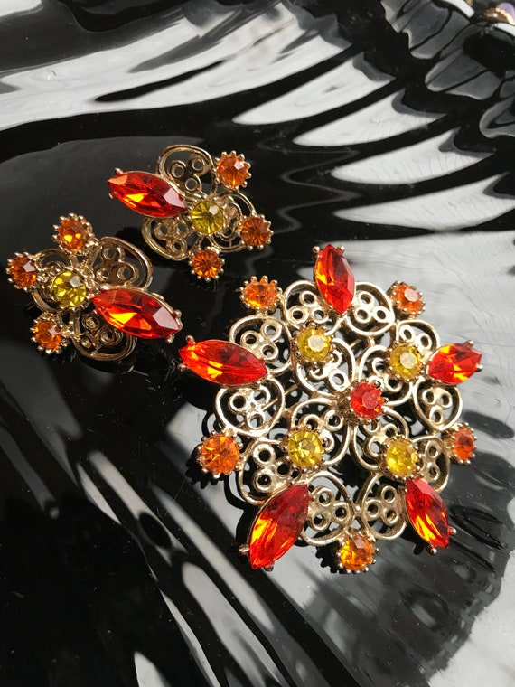 EMMONS Bright Burnt Orange & Yellow Rhinestone Vintage Brooch Lapel Pin and Earrings Set, Brighten Your Days with Colorful Accent Jewelry!