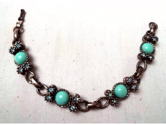 Vintage Estate Sterling Silver 925 teal Rhinestone & turquoise colored beads linked Bracelet
