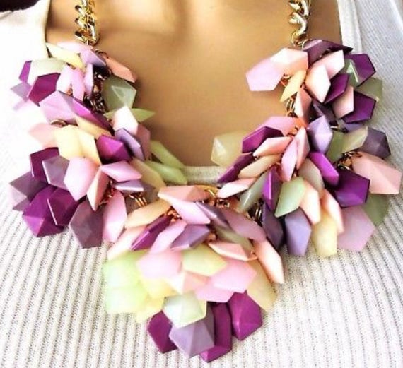 Exceptional Purple Green & Pink Facet Runway Statement Necklace