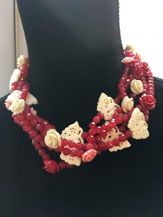Vintage Boho Statement Necklace, Carved Red Agate Roses & White Bone Butterflies with a Jade Clasp, Multi Strand Choker
