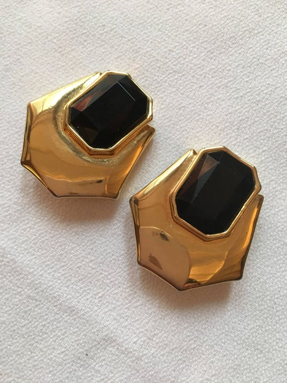 Fab Large Runway Statement Gold & Black Gem Rhinestone Chunky Clip On Earrings