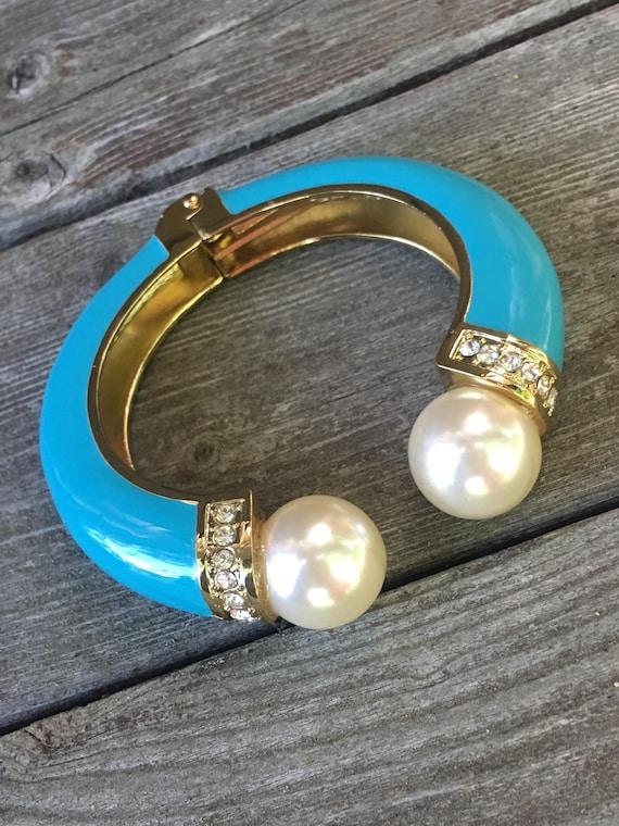 Beautiful Blue Enamel Rhinestone Large Faux Pearl Clamper Bracelet late 80's early 90's Mint condition
