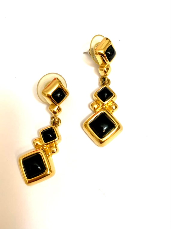 Monet Black Enamel Dangles, Signed Black and Gold Statement Earrings, Classy Vintage 80s Costume Jewelry