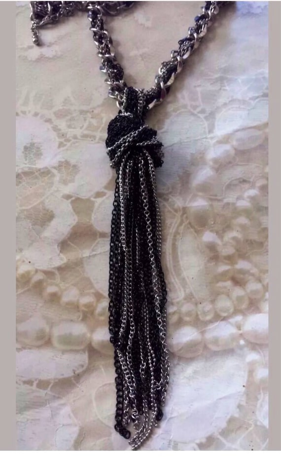 Vintage Black & Silvertone Chain Swanky Choker Tassel Necklace, Multi Chain Statement Necklace