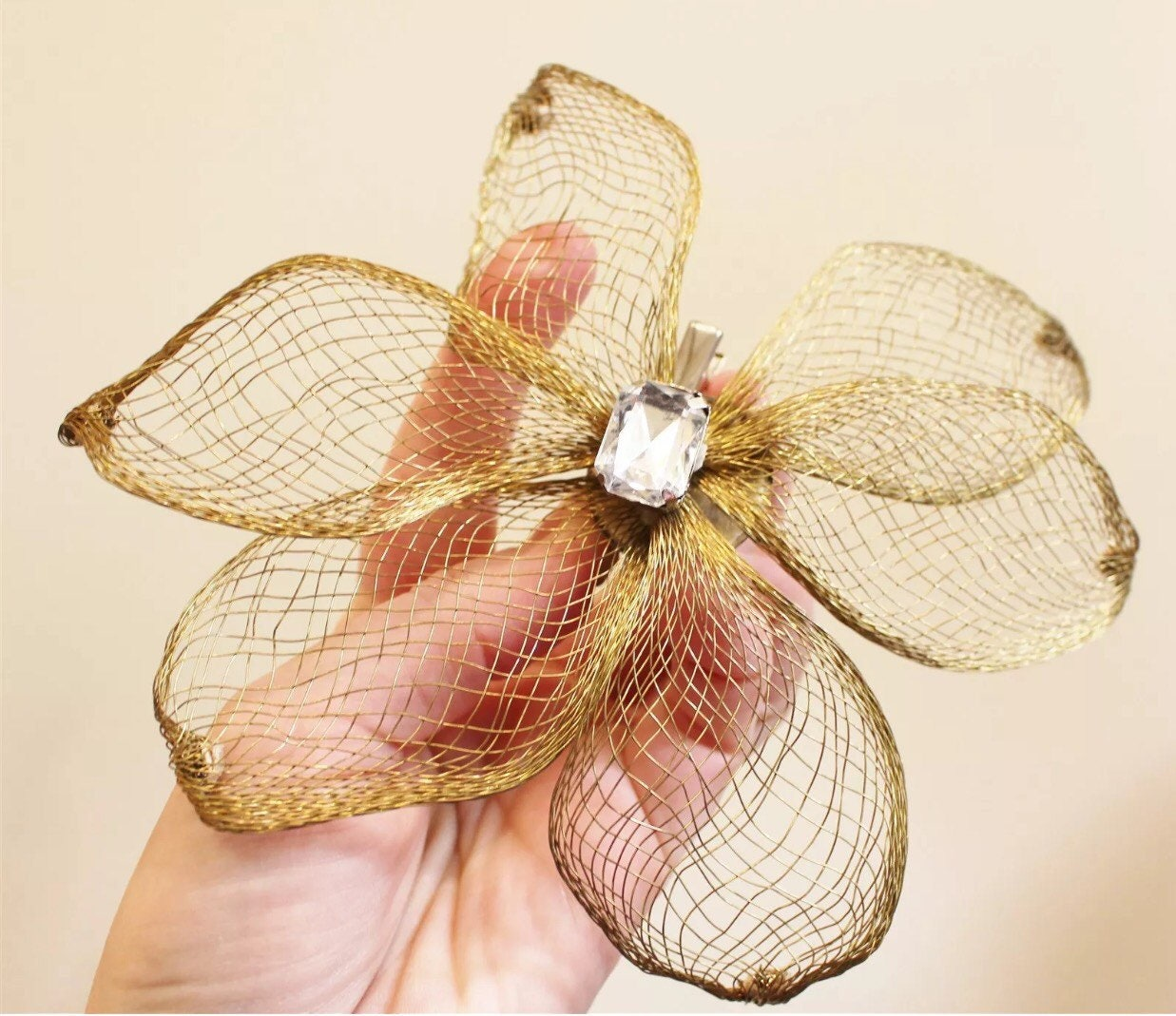 Giant Huge 80 s Bling Goldtone   Ice Wire Art Flower Fascinator Hat ... 37e83a5a35c