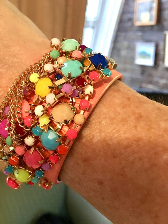 Beaded POP Pastel & Fluorescent beaded peachy salmon leather glammy fioricci styled unsigned punk glam new wave cuff bracelett