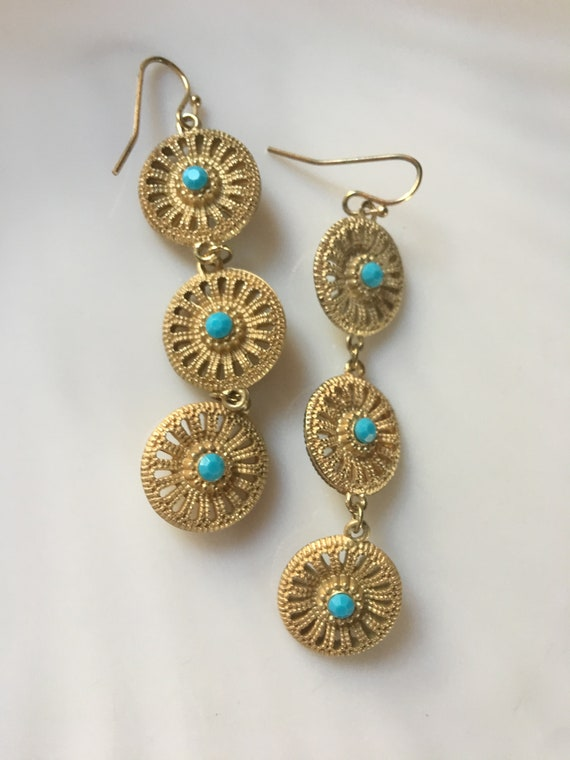 Ornate Matte Goldtone Egyptian Dangles with Turquoise Gem Beads, 80s GlamourJewelry Vintage Earrings