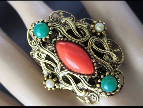 Egyptian Revival Coral Orange & Green Bead Vintage Adjustible Filigree Ring