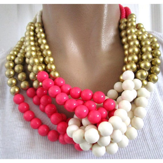 Stunning Vintage 80's or eariler Pink Cream & Gold Torsade Necklace in pristine condition