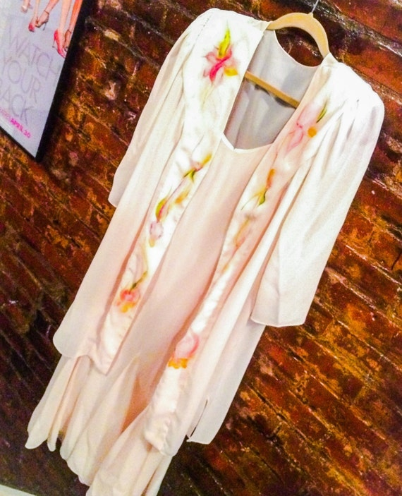 SALE- Vintage Katherne & Linday by Lucera pastel powder pink sundress with matching beautiful airbrished art over jacket