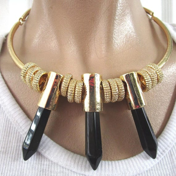 Super Sexy Edgy Choker of Golden Shiny Golden Black Lucite Crystal Bullets, 80s Vinyl Record Era Disco Statement Necklace