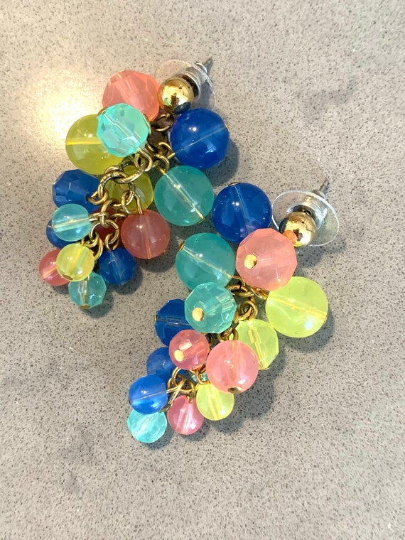 Swingy Pastel Cha Cha Dangles, Rainbow Peachy Pink Celadon Green Baby Blue and Yellow Grape like Cluster Bead Earrings, Vintage 50s Jewelry