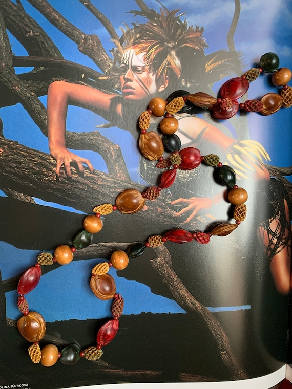 Vintage Natural Wood Seeds Nuts Necklace, Cool 70s Hippy Beads!