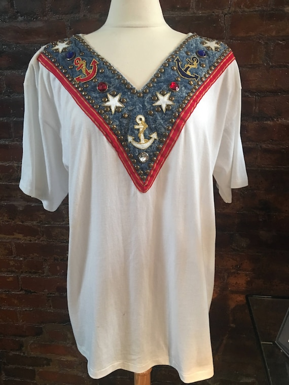 Vintage 80's Oversized Nautical Embellished & studded  T-shirt with shoulder pads Size XL great with leggings